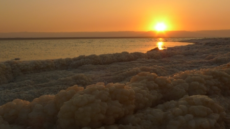 Dead Sea sunset (with salt)